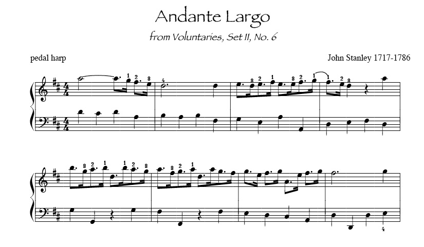 Andante Largo by Stanley for intermediate harp Wedding Processional sheet music