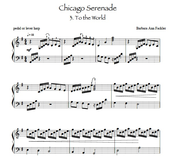Chicago Serenade:  To the World: in honor of Lyon & Healy: sheet music for lever harp