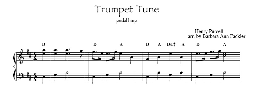 Trumpet Tune by Purcell intermediate harp