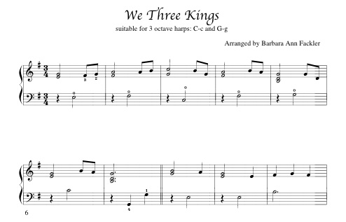 beginning harp solo We Three Kings for Christmas music