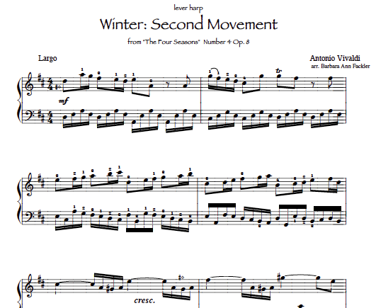 Winter (Largo) from Vivaldi's SEASONS for lever harp sheet music