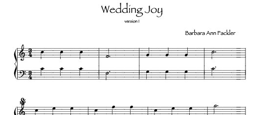 Wedding Joy from small lever free harp solo sheet music